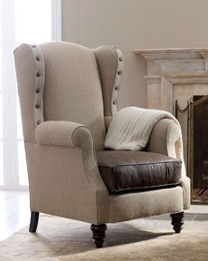 burlap and leather chair, would be rough on the elbows, maybe leather or some other fabric on arms...........