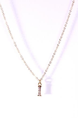 Gold Thin Chain Link Letter I Pendant Necklace