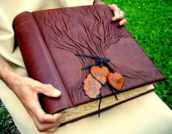 """Leather Wedding Guest Book Tree of Life, Photo Album, MXS Large, Family Chronicle, Rustic Leather, 10''x13"""", Personalized. $263.00"""