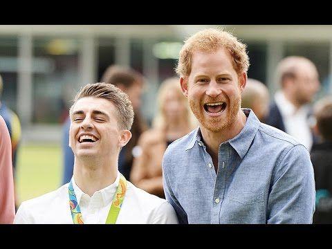 Prince Harry jokes around with Olympian Max Whitlock