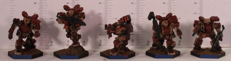 Heavy Gear Blitz - Dream Pod 9 - PRDF General Purpose Squad, painted by Tom Crandall at http://miniaturereview.blogspot.ca/2010/09/dream-pod-9-heavy-gear-blitz.html?m=1