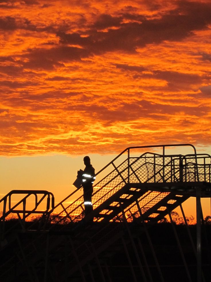 Early morning at a remote mine site in Western Australia. The first planes have left Perth airport, filled with Fly In Fly Out miners who are about to start their roster.