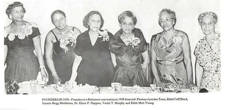 Six of the Founders of Delta Sigma Theta Sorority, Inc. in 1958, left to right, Florence Letcher Toms, Ethel Cuff Black, Jimmie Bugg Middleton, Dr. Eliza P. Shippen, Vashti Murphy, and Edith Mott Young