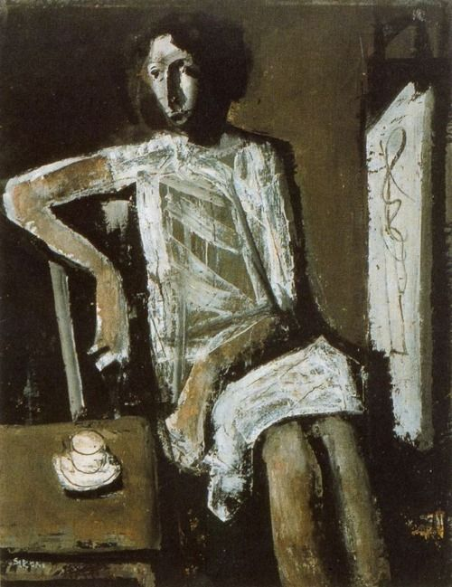 """Model"" (1958), by Mario Sironi. Oil on canvas."