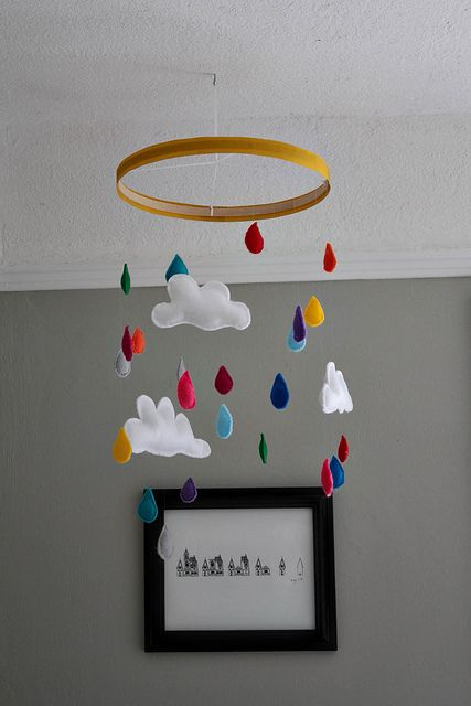 Rain and clouds mobile-no tutorial, just pinning for inspiration. Insanely cute.