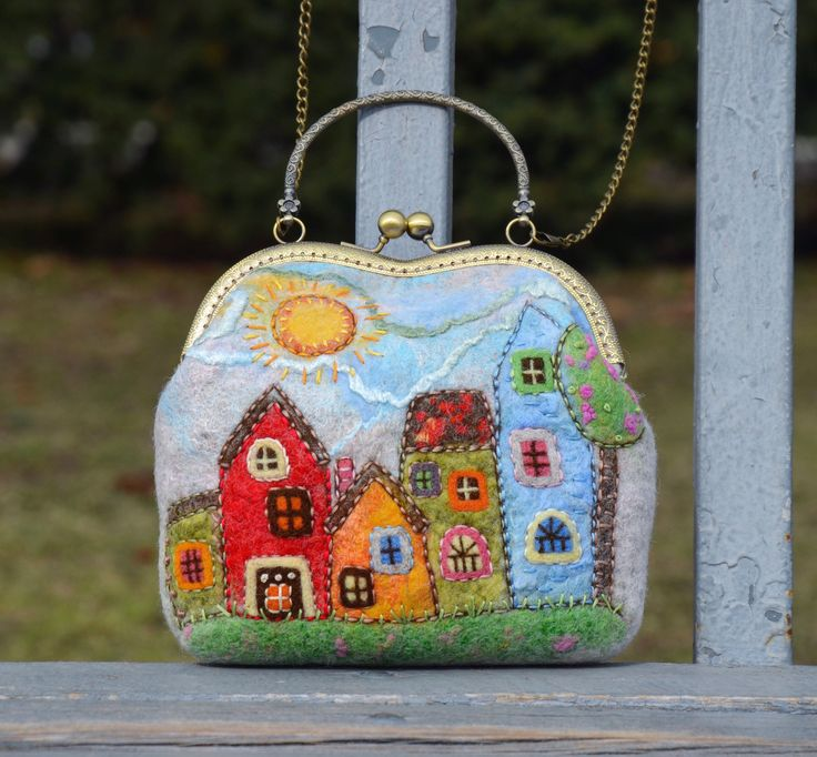 kiss lock purse owl lovers owl gift Grey felted crossbody bag with owl vintage style