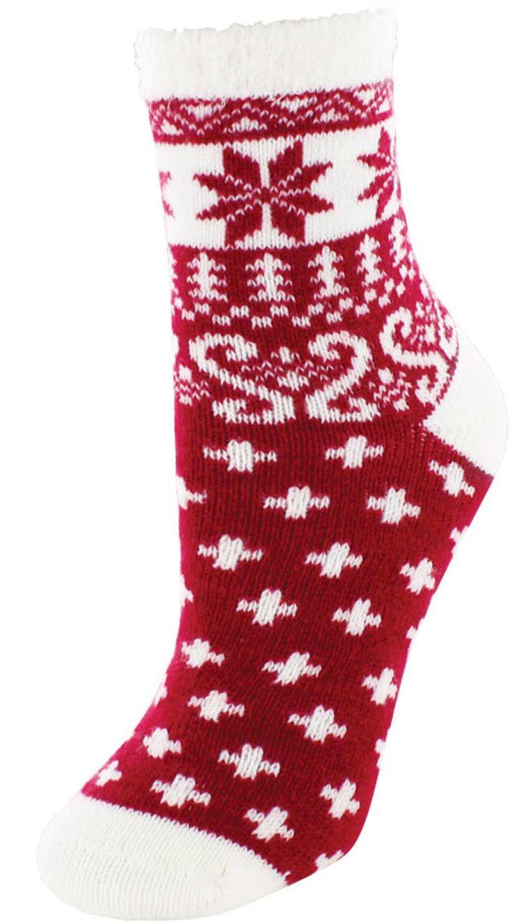 Yaktrax women 39 s cozy nordic crew cabin socks field for Warm cabin socks