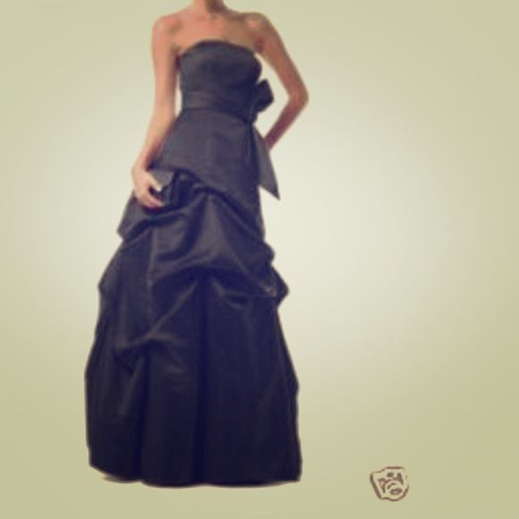 Black satin formal dress Satin strapless pinched full length dress. Worn once, bridesmaid dress from David's bridal. David's Bridal Dresses Strapless