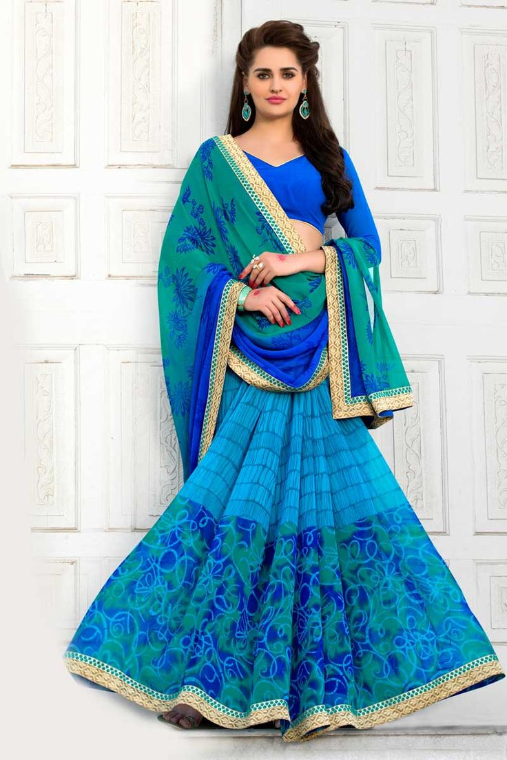 Blue With Sky Blue Georgette Saree With Georgette Blouse Price: £ 39 Blue with Sky Blue, georgette Printed saree with blue, georgette blouse.  Embellished with embroidery. Saree with Fancy Pallu and Lace Border ,V Neck Blouse, Quarter Sleeve Blouse.  It comes with unstitch blouse, it can be stitched to 34,36,38,40 sizes.  http://www.andaazfashion.co.uk/womens/sarees/blue-with-sky-blue-georgette-saree-with-georgette-blouse-dmv9174.html