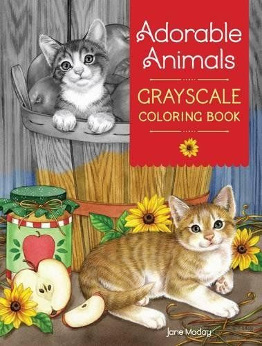Adorable Animals Grayscale Coloring Book By Jane Maday Amazon