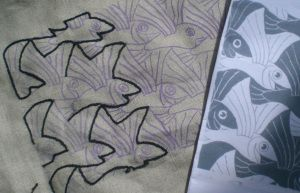 Escher embroidery sampler