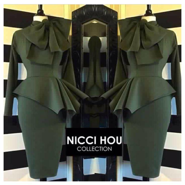 Hunter green Nicci Hou asymmetrical peplum Bow dress