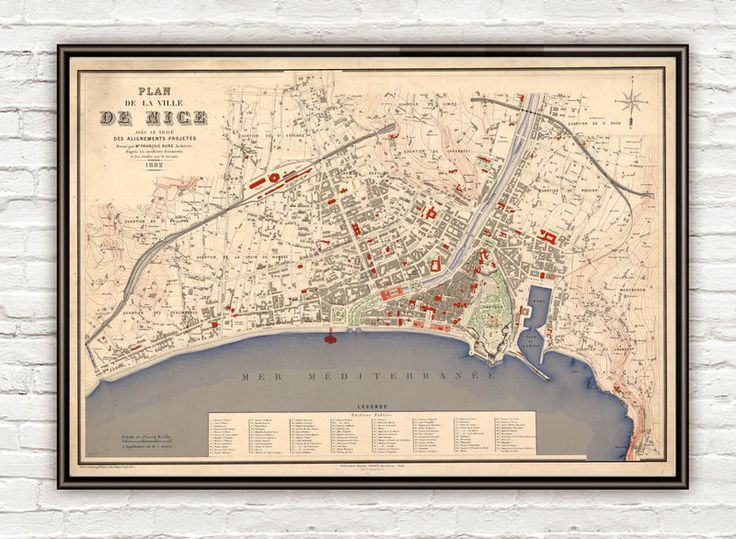 Old Map of Nice France 1882 Vintage Map - product image
