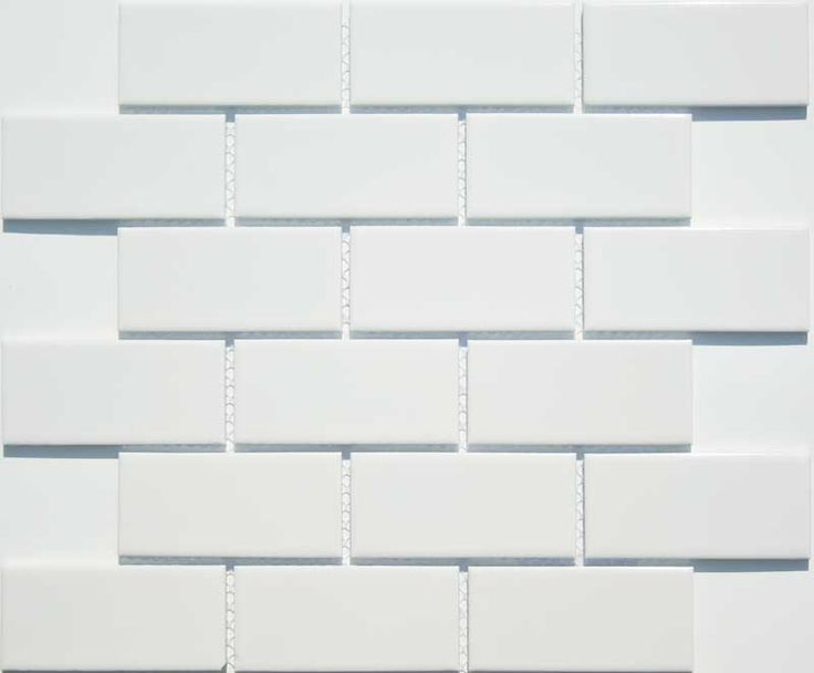 Cloud White 2 x 4 Gloss Glazed Ceramic Subway Tiles, Product Code LN24-181 from the Lyric NOW Subway Tile Series, sold by the .96 s.f. sheet mounted on mesh.