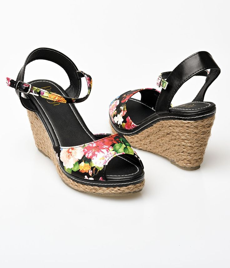 Black Floral Peep Toe Bypass Espadrille Wedge Sandals -4300