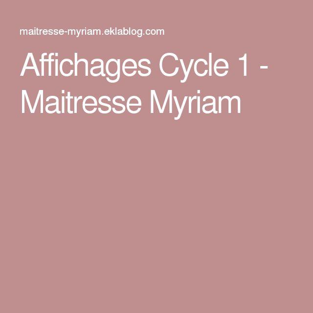 Affichages Cycle 1 - Maitresse Myriam