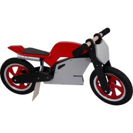 Rood-zwart-zilveren Kiddimoto superbike loopfiets    Steel de show met deze fantastische MotoGP superbike replica, gebaseerd op de echte racemotoren.  Met deze loopfiets ontwikkel je razendsnel een goede balans, coördinatie en motoriek waardoor de overstap naar de echte fiets haast vanzelf gaat.  Deze superbike is een stoer, orgineel en leerzaam kado waarmee bij ieder kind een lach op het gezicht getoverd wordt.