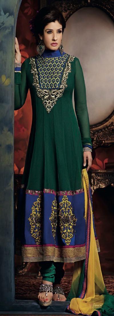 $90.67 Green Embroidered Georgette Bollywood Anarkali Salwar Kameez 22863