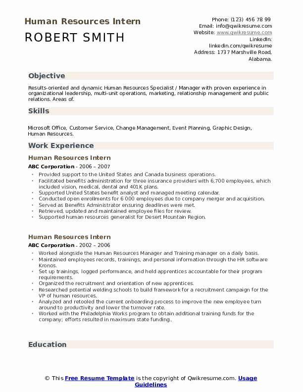 Entry Level Hr Resume No Experience Awesome Human Resources Intern Resume Samples In 2020 Internship Resume New Grad Nursing Resume Hr Resume