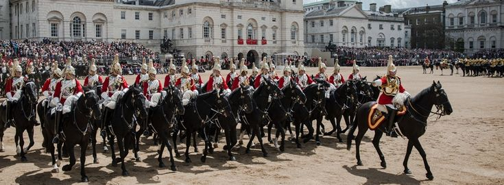 Trooping the colours. Colonels review (rehearsal) happens on Saturday 6 th of june around 10:30  at Horse Guards parade