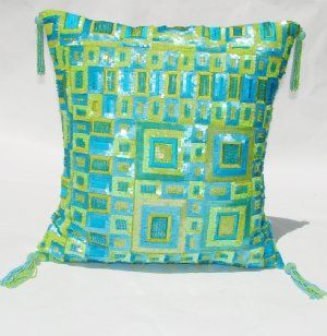 lime green and turquoise embelleshed decorative pillow