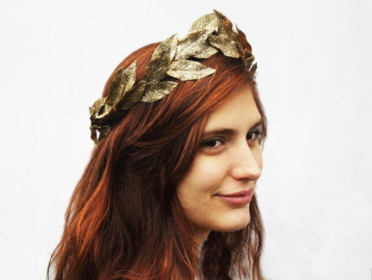 Gold Leaf Tiara - Metallic Gold, Greek Goddess Crown. Leaf Headband, Princess Crown, Fairy Crown, Leaf Headdress.. $48.00, via Etsy.