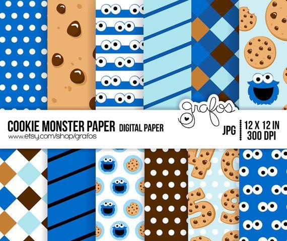 cookie monster paper digital paper scrapbook digital paper