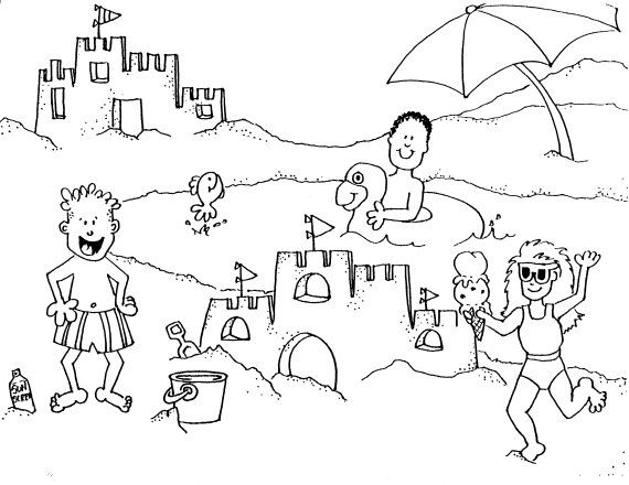 Beach Coloring Pages For Kids 9 Party
