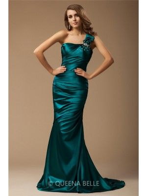 Trumpet/Mermaid One Shoulder Sleeveless Sweep/Brush Train Ruffles Beading Elastic Woven Satin Dresses - Prom Dresses - Occasion Dresses - QueenaBelle 2017