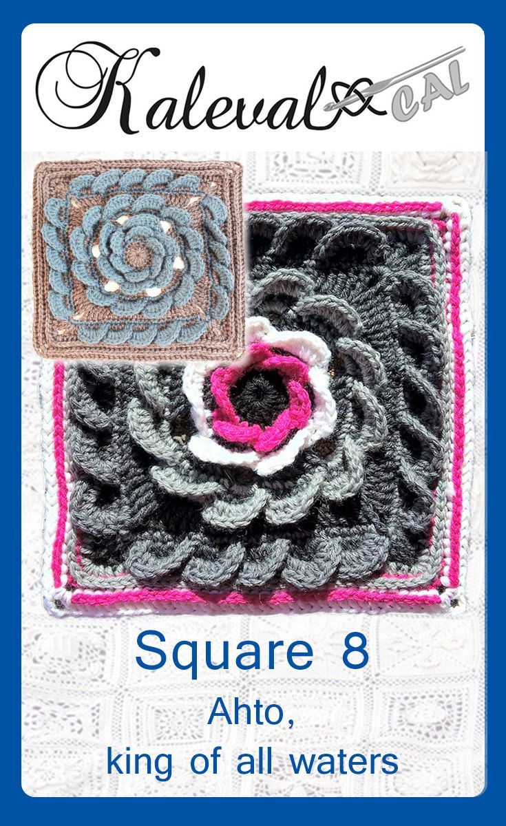 Square 8 for Kalevala CAL crochet-along. Design Anne Vierimaa. Crochet blanket with 24 squares. #crochetblanket