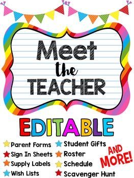 Meet the Teacher Editable Set! This unit is 64 pages and includes five themes of editable forms including class roster, schedule, supply list, and wish list. It also includes a volunteer form, student scavenger hunt, five different student gift tags, parent questionnaire, and more! $