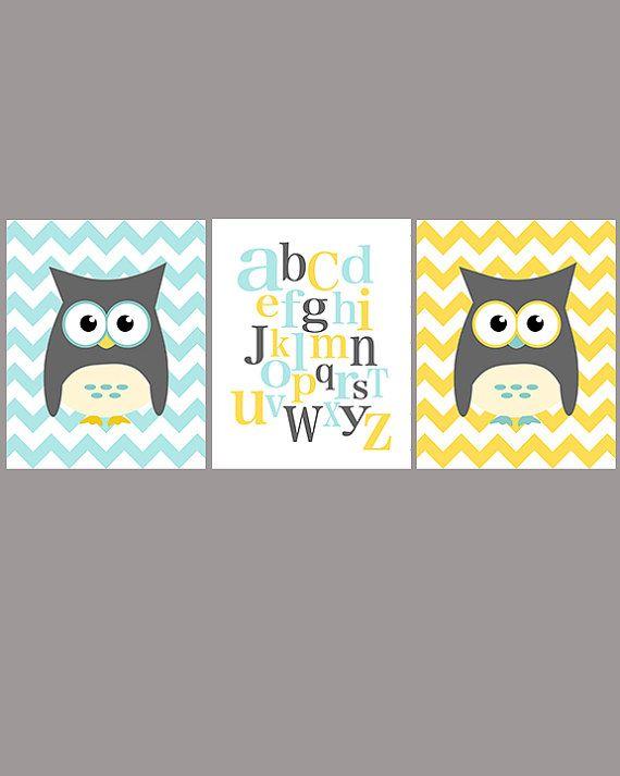 Owl and ABC nursery art - set of three - blue gray yellow - digital print - 8x10 on A4