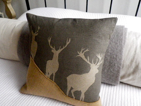 Hand printed rustic charcoal stag cushion £52.00