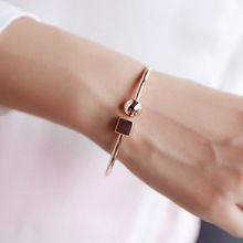 Мода круг, квадрат Открытый браслет женская уличная обувь вкус Геометрия браслеты и браслеты ювелирные изделия Bijoux розовое золото-цвет(China (Mainland))