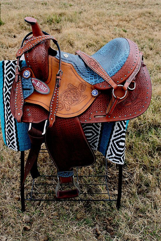 "15"" Horse Western Barrel Show Pleasure LEATHER HORSE SADDLE Bridle Blue 50171"