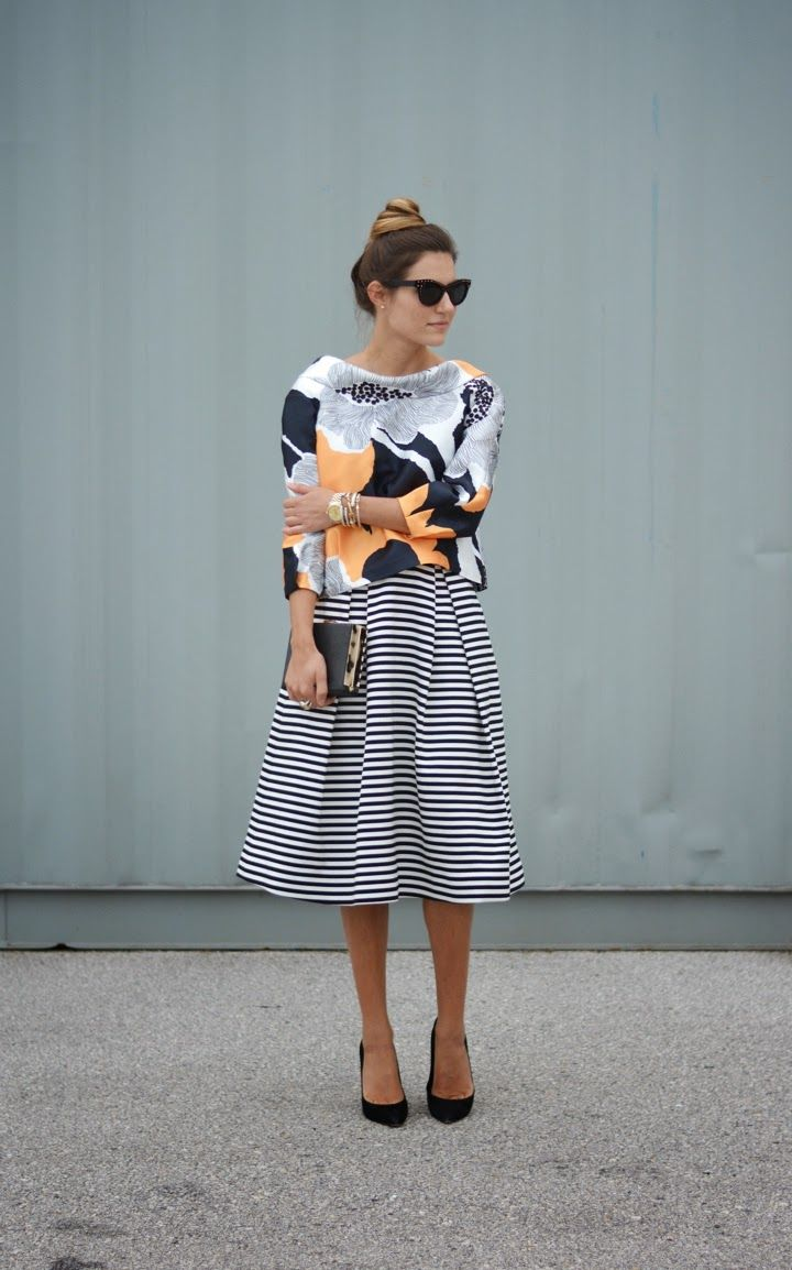 Printed top and striped skirt