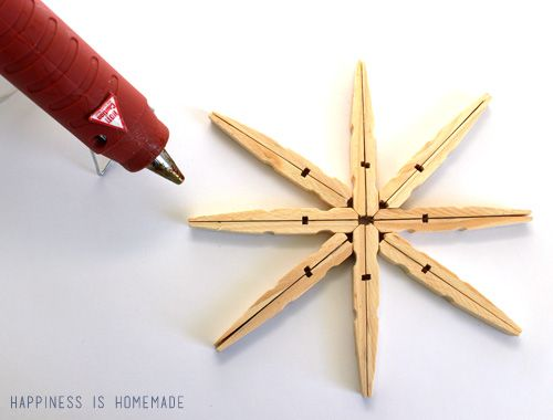 Shimmery Clothespin Snowflakes by Happiness is Homemade | Skip To ...