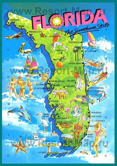 Карта Флориды для туристов