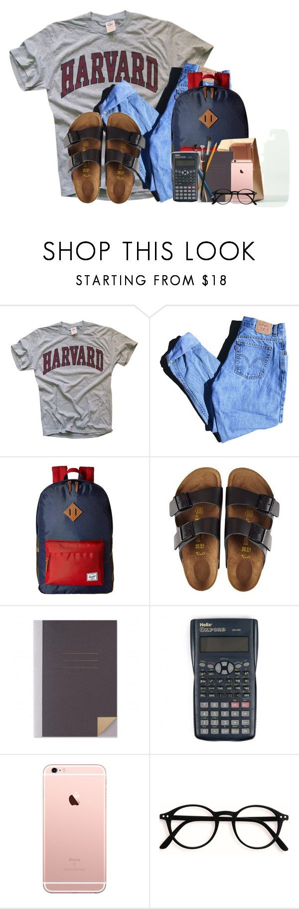 """I dont wanna go back to school"" by victoriaann34 ❤ liked on Polyvore featuring Levi's, Herschel Supply Co. and Birkenstock"