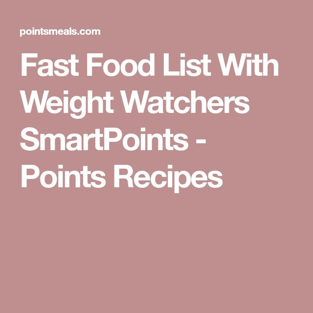Fast Food List With Weight Watchers SmartPoints - Points Recipes