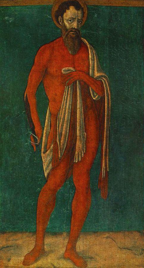 Matteo di Giovanni, St. Bartholomew holding his own skin, ca. 1480