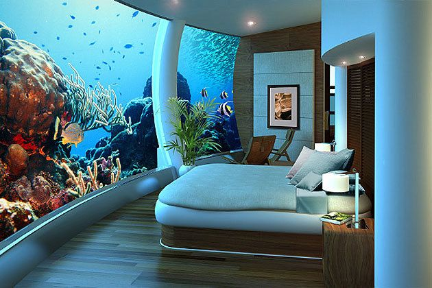 Sleeping with the fish in Fiji...A thick acrylic window envelops 70 percent of the room.  Poseidon Undersea Resort, Fiji