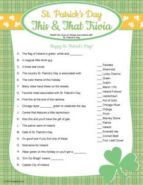 St. Patrick's Day Trivia. Printable St. Patrick's Day game.