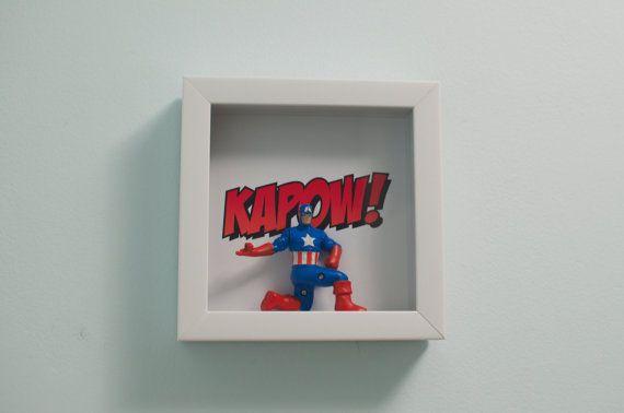 Captain America Comic KAPOW Original 3D Shadowbox Art by DUDEORAMA, $30.00