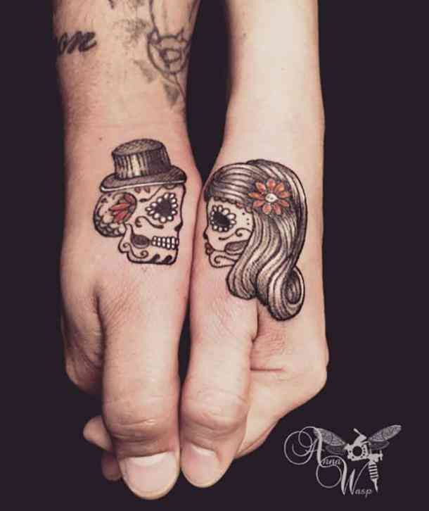 acf3add03 A his and hers matching tattoo of sugar skulls. #tattoo #sugarskull  #dayofthedead #sugarskulltattoo Follow us on Pinterest:  www.pinterest.com/yourtango