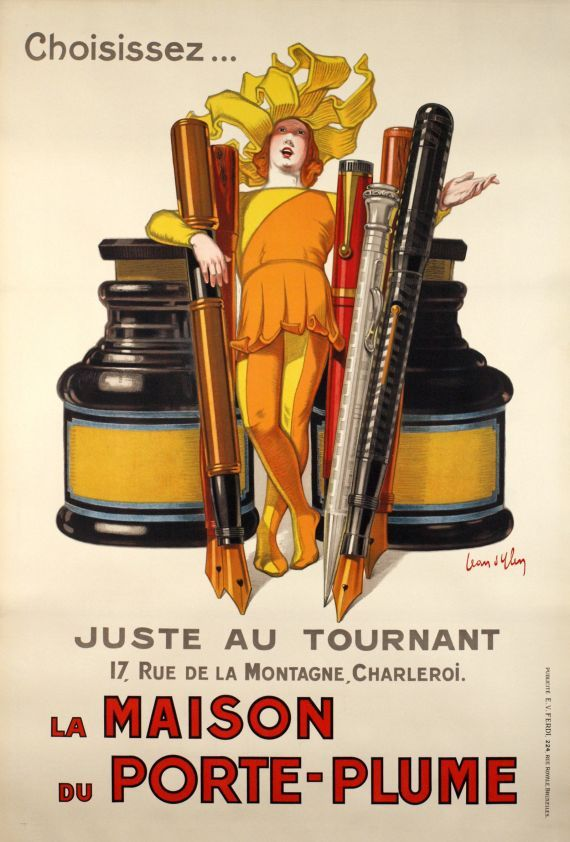 "1928, ""The House of the Pens""  vintage advertising poster, Belgium"