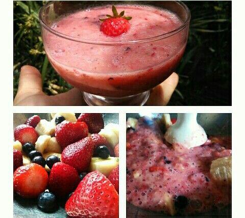 Un rico postre primaveral; frutillas, arandanos y platano ❤ Facil, rico y nutritivo