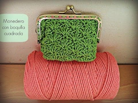 ▶ Monedero de ganchillo con boquilla cuadrada - Crochet purse (Tutorial) - YouTube