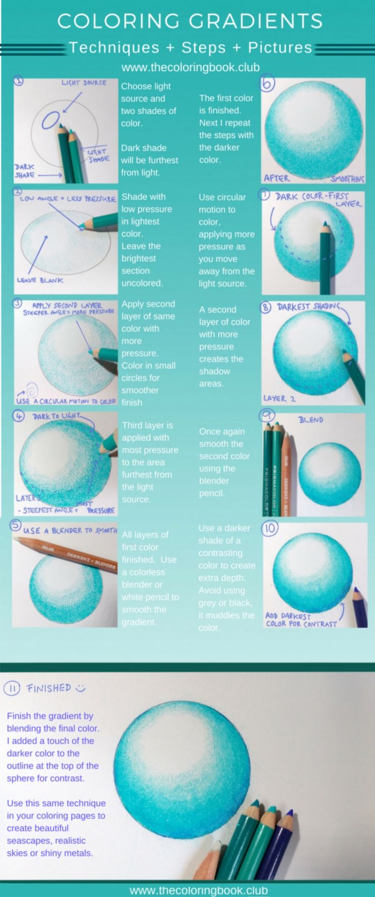 Gradients created with coloring pencis. 11 step tutorial on this shading technique.