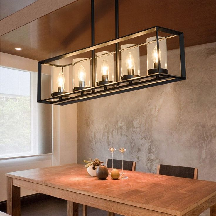 Contemporary Black Metal Frame Kitchen Island Linear Pendant Light With Clear Glass Shade